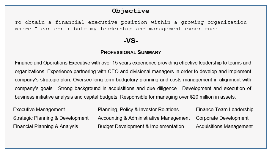 Resume Objective vs Professional Summary